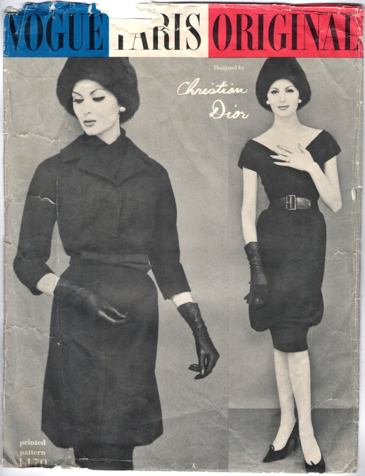 1950s Yves Saint Laurent for Dior dress and jacket pattern Vogue 1470