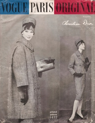 1950s Christian Dior coat and suit pattern featuring Nena von Schlebrügge - Vogue 1472
