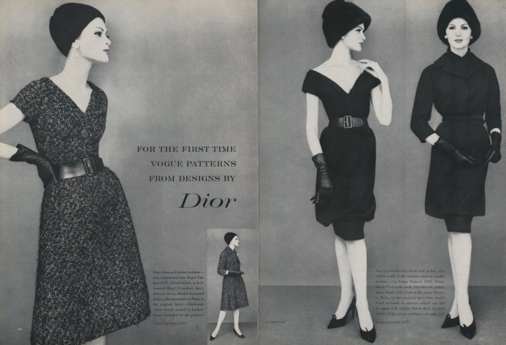 For the first time Vogue patterns from designs by Dior. Vogue 1 Jan 1960