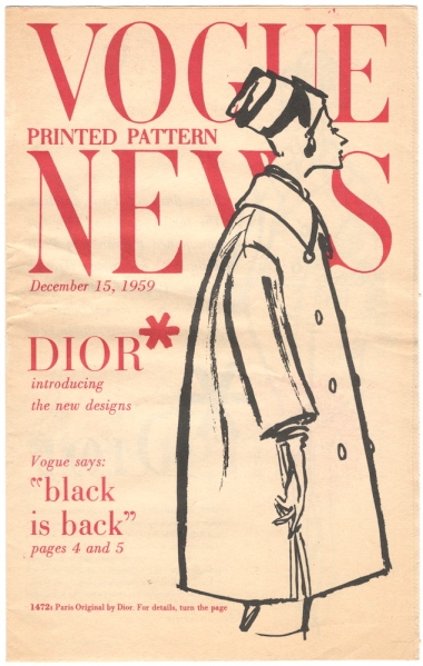 Vogue 1472 on the cover of Vogue Pattern news for December 15th, 1959