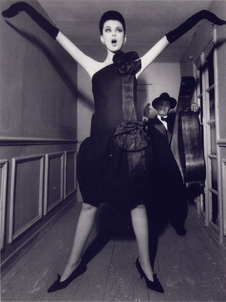 Dorothea McGowan in Dior, with Little Bara, photographed for Vogue by WIlliam Klein