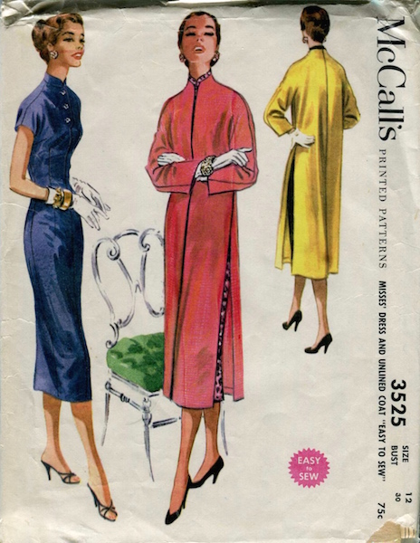 1950s dress and unlined coat pattern - McCalls 3525