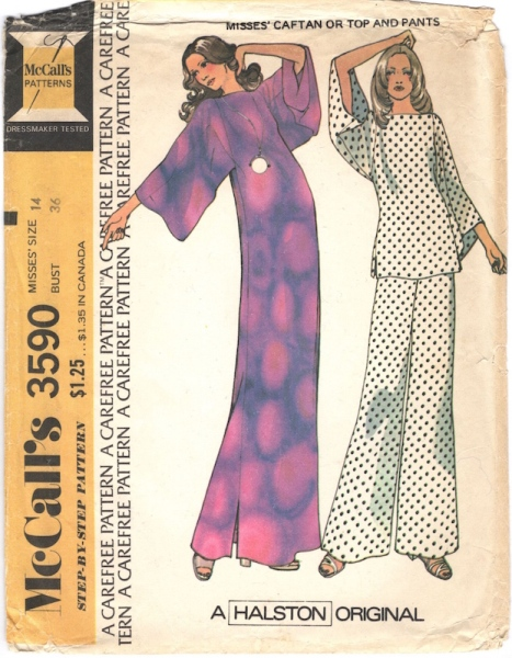 1970s Halston caftan, top, and pants pattern - McCall's 3590
