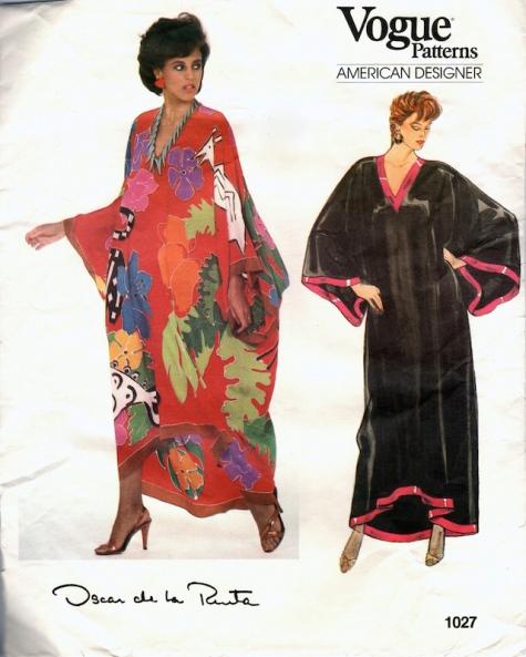 1980s Oscar de la Renta caftan pattern Vogue 1027