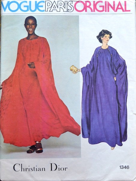 1970s Christian Dior caftan pattern feat. Billie Blair - Vogue 1346