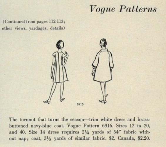 Back views of 1960s pattern Vogue 6916