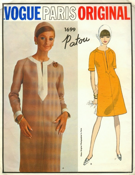 1960s Patou caftan dress pattern - Vogue 1699