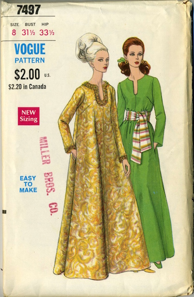 1960s caftan pattern Vogue 7497