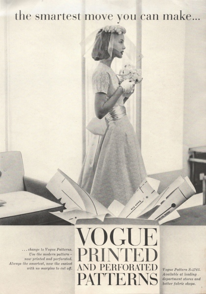 1950s Vogue Patterns advertisement showing Vogue S-4765