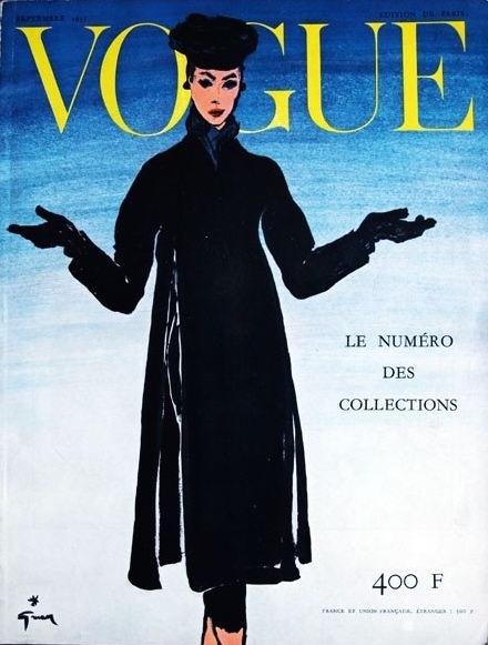 1950s Gruau illustration on the cover of Vogue Paris