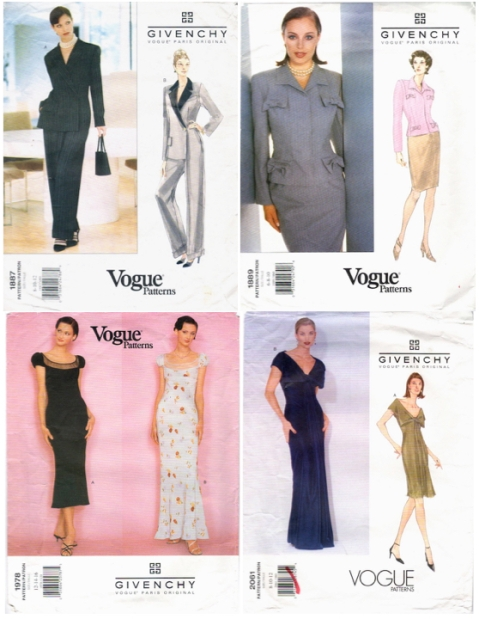 1990s Vogue Patterns by John Galliano for Givenchy: 1887, 1889, 1978, 2061