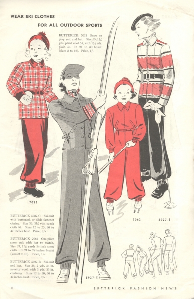 1930s winter sports illustration - Butterick Fashion News December 1936