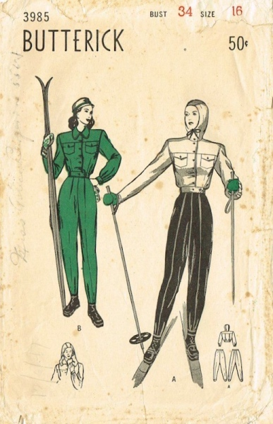 1940s ski suit pattern - Butterick 3985