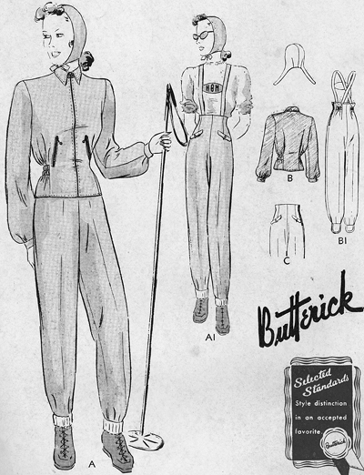 Late 1930s ski suit pattern - Butterick 8793