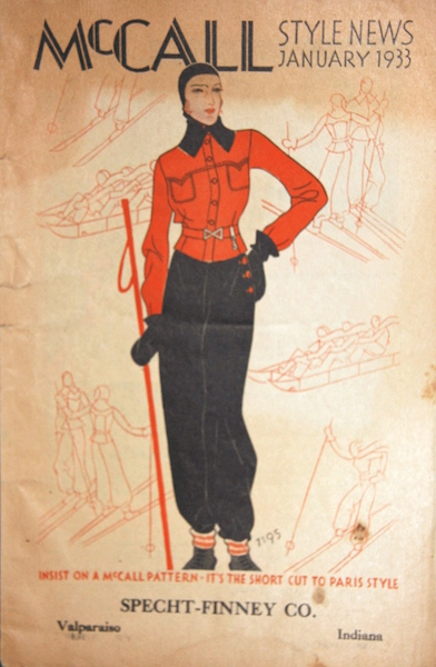 1930s skiwear illustration - McCall Style News January 1933