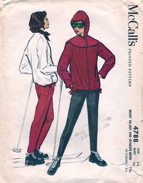 1950s ski suit and hood pattern - McCall's 4788