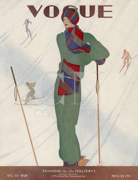 1920s ski illustration by Jean Pagès for the cover of Vogue magazine