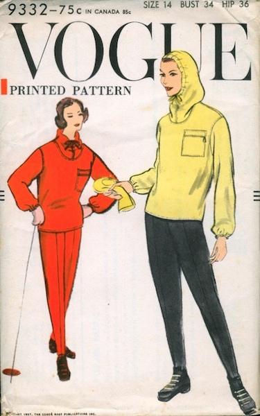 1950s skiwear pattern - Vogue 9332