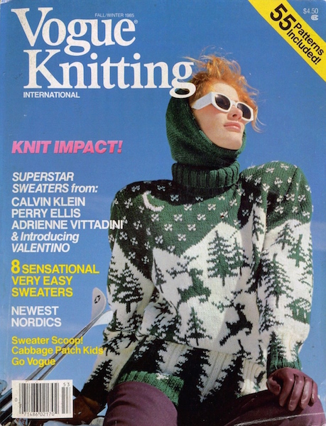 1980s Nordic ski sweater on the cover of Vogue Knitting magazine