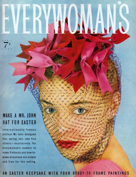 Make a Mr. John Hat for Easter - Mr. John creation on the cover of Everywoman's magazine, April 1957