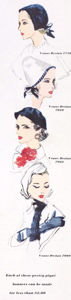 1950s Vogue hat patterns illustrated in Ladies Home Journal, March 1953