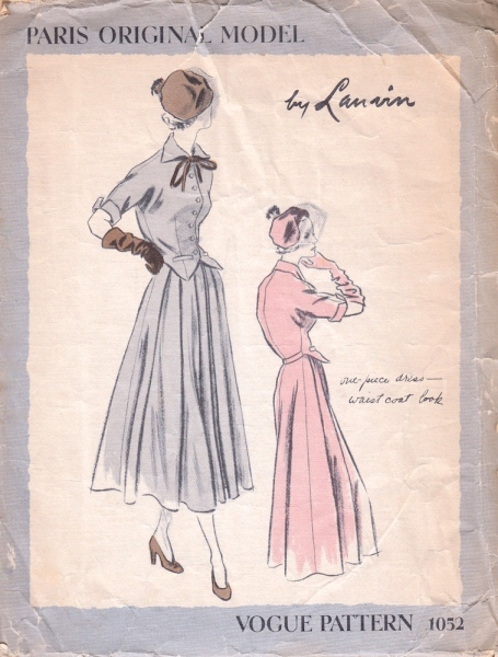 1940s Lanvin dress pattern - Vogue 1052