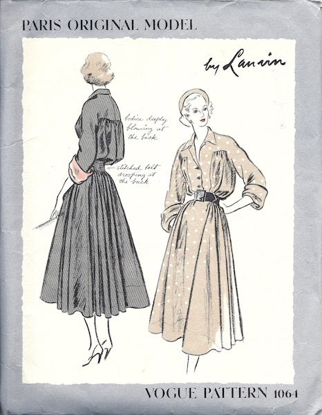 1940s Lanvin dress pattern - Vogue 1064