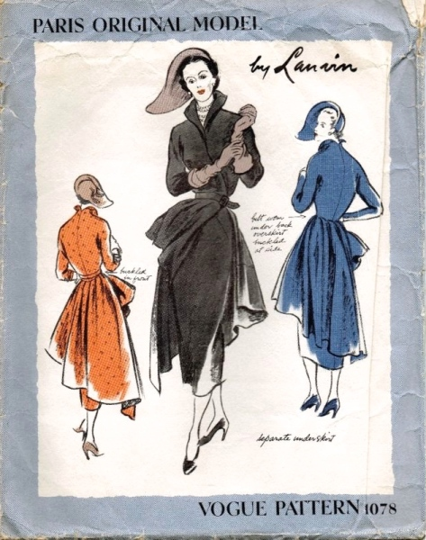 1940s Lanvin dress pattern - Vogue 1078