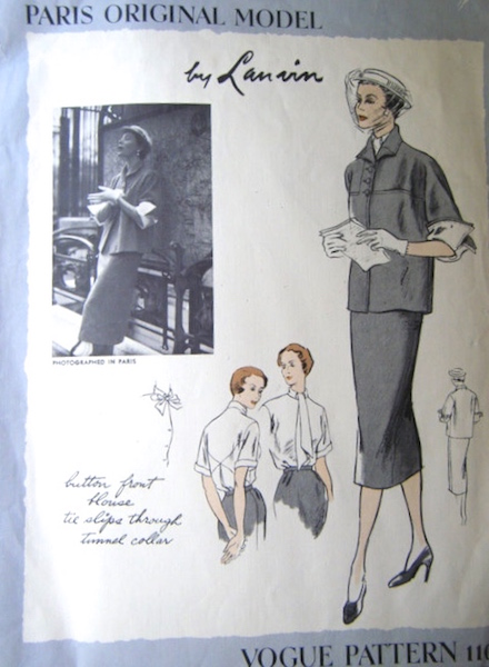 1950s Lanvin suit and blouse pattern - Vogue 1104