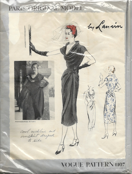 1950s Lanvin dress pattern - Vogue 1107