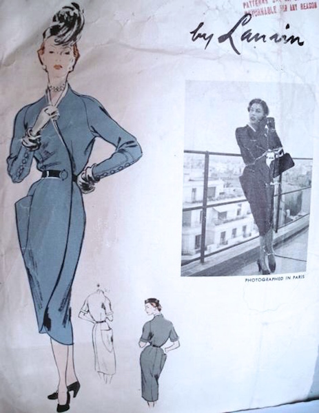 1950s Lanvin dress pattern - Vogue 1122
