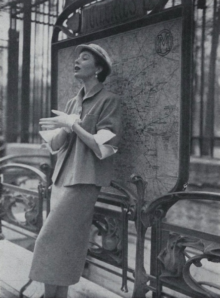 Bettina Graziani in Lanvin at Paris' Tuileries Metro station, 1950