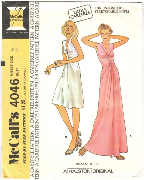 1970s Halston cocktail or evening dress pattern - McCall's 4046