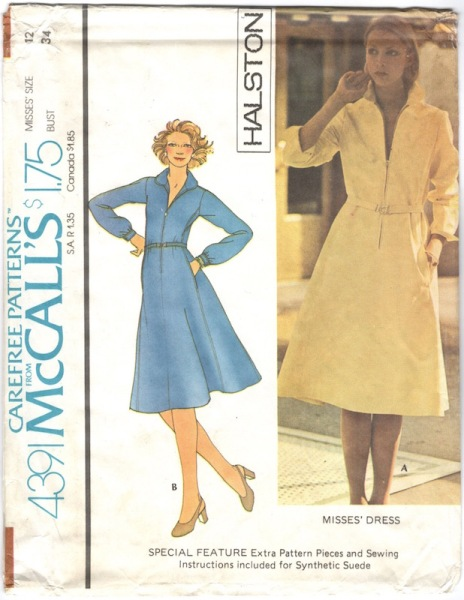 1970s Halston dress pattern, view A for synthetic suede - McCall's 4391