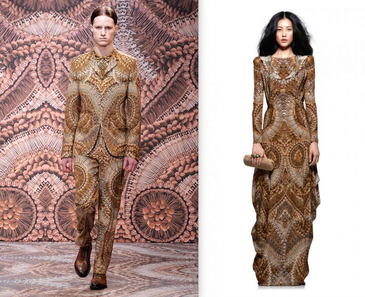 Catacomb print, Alexander McQueen Fall 2010 men's / women's Pre-Fall 2010-11