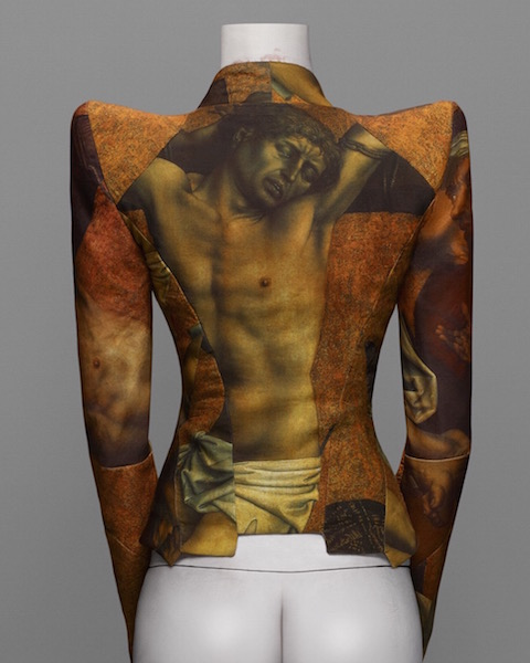 Alexander McQueen jacket with Robert Campin 15th c. crucifixion print, FW 1997-98