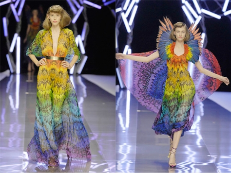 Alexander McQueen bird-of-paradise prints, SS 2008 Isabella Blow collection