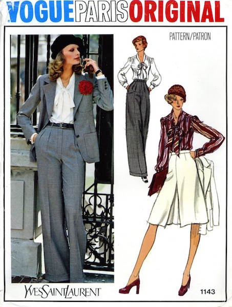 1970s Yves Saint Laurent pantsuit, blouse, and skirt pattern - Vogue 1143