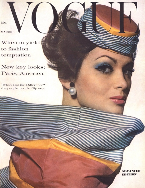 Isabella Albonico photographed by Irving Penn in a Mr. John hat and scarf set for Vogue, March 1, 1961