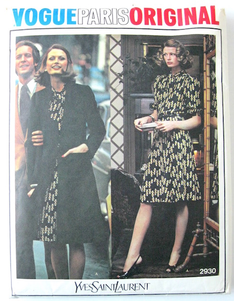1970s Yves Saint Laurent dress and coat or jacket pattern - Vogue 2930