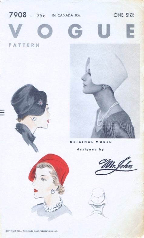 1950s Mr. John hat pattern - Vogue 7908
