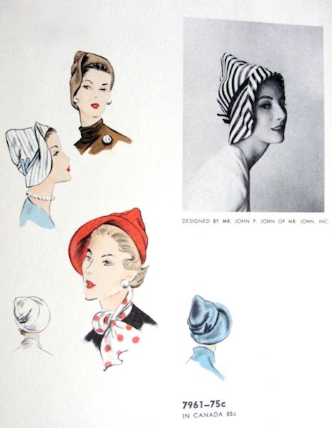 1950s Mr. Joh hat pattern - Vogue 7961