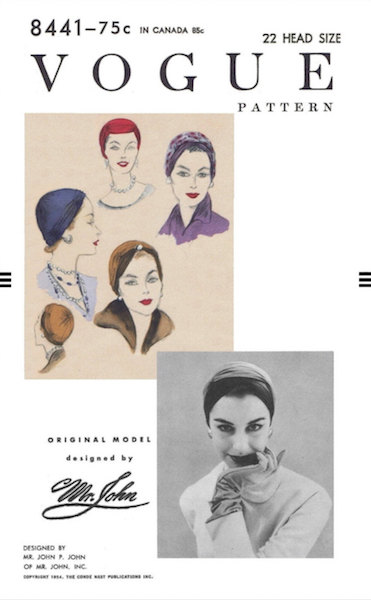 1950s Mr. John hat pattern - Vogue 8441