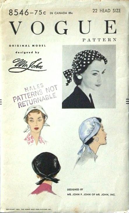1950s Mr. John hat pattern - Vogue 8546