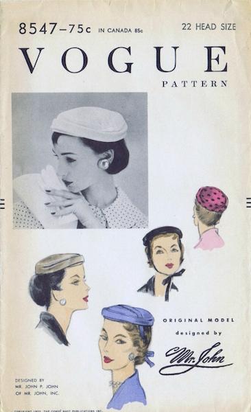 1950s Mr. John hat pattern - Vogue 8547