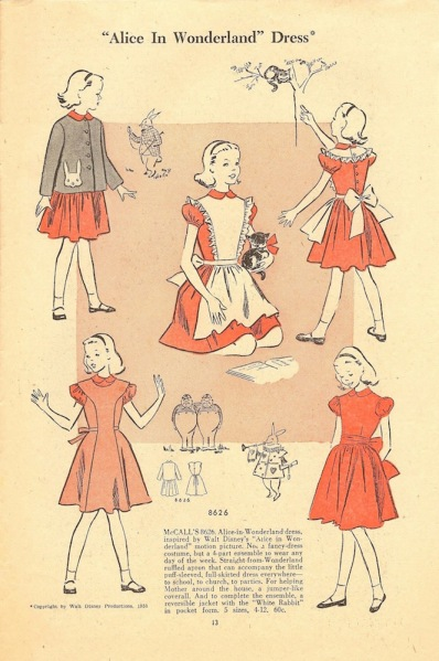 1950s Disney Alice in Wonderland pattern in McCall's Style News leaflet - McCall's 8626