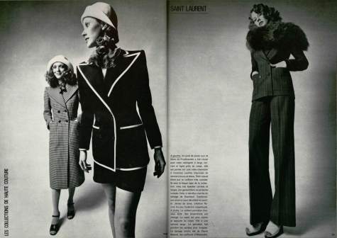 Yves Saint Laurent Spring 1971 couture photographed by Jean Louis Guégan for L'Officiel