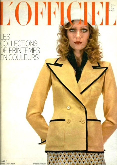 Yves Saint Laurent couture ensemble on the cover of L'Officiel, March 1971
