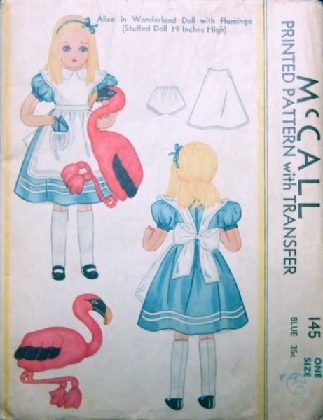 1930s Alice in Wonderland Doll with Flamingo (Stuffed Doll 19 Inches High) - McCall 145