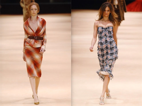 Raquel Zimmermann and Carmen Kass in tartan looks from The Man Who Knew Too Much - McQueen FW 2005